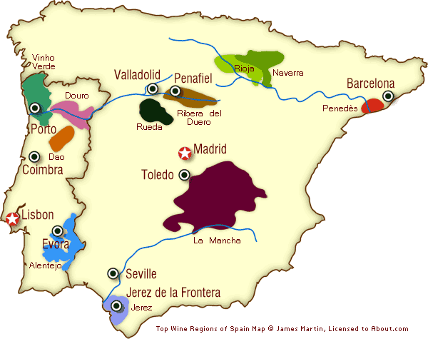 Map Of Portugal And Spain.Spain And Portugal Wine Regions