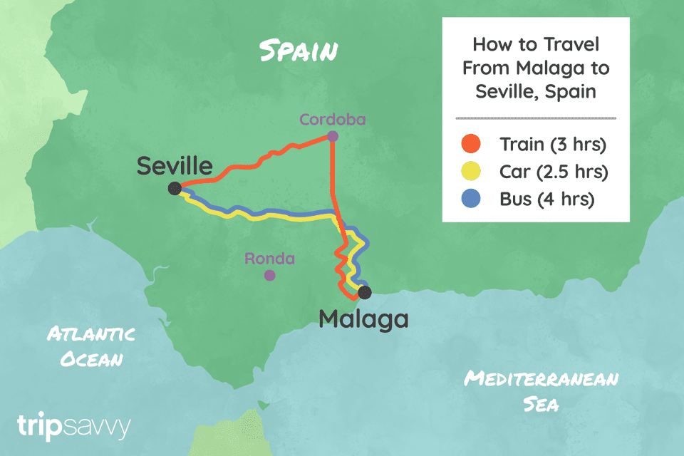 Map Of Spain With Distances.Getting From Malaga To Seville