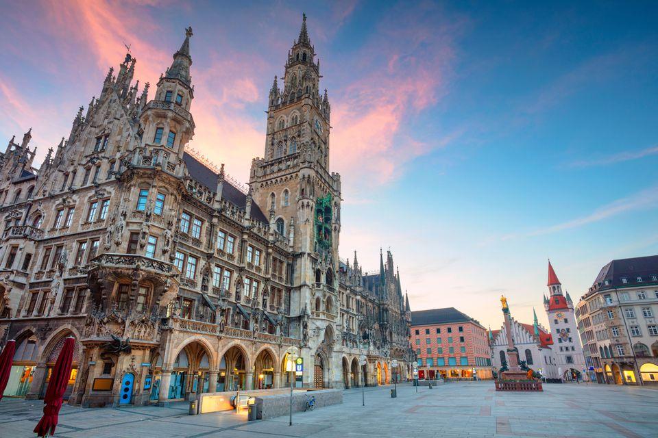 Munich's Marienplatz during twilight