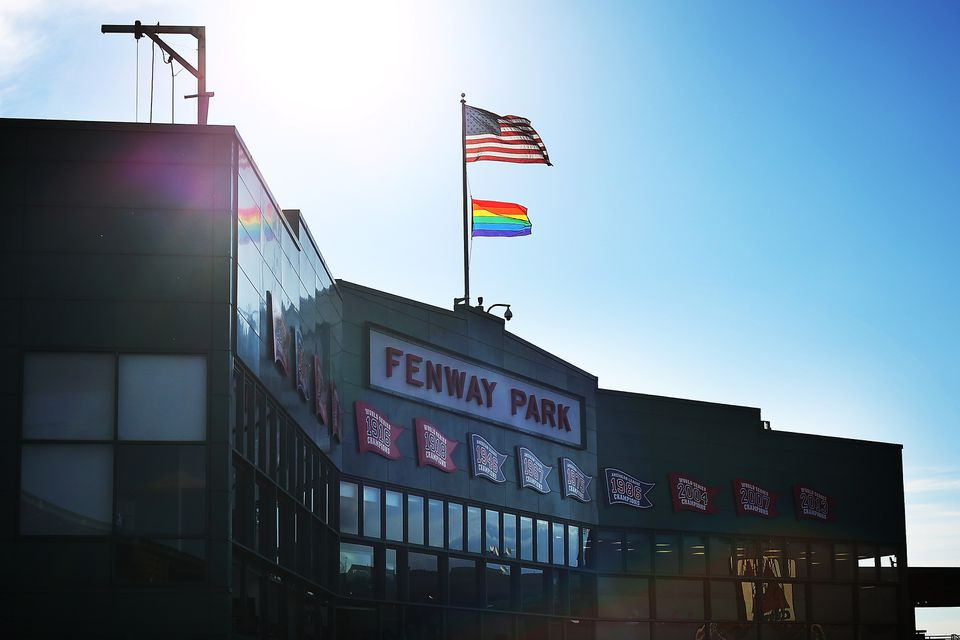 Pride flag flying over Fenway Park