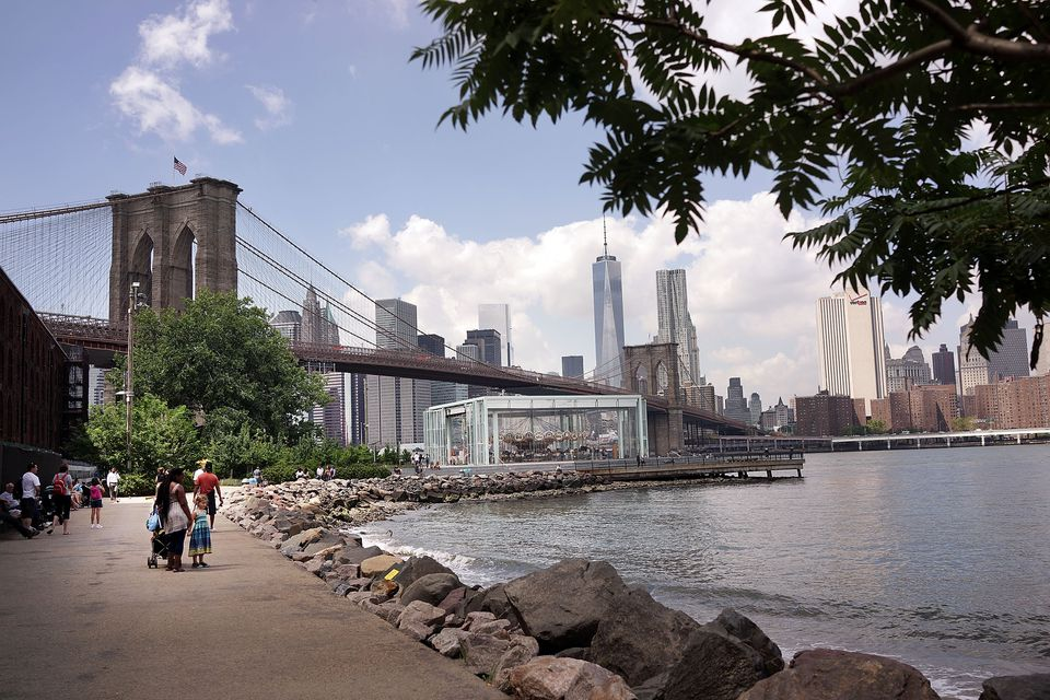 Riverfront with Brooklyn Bridge in distance