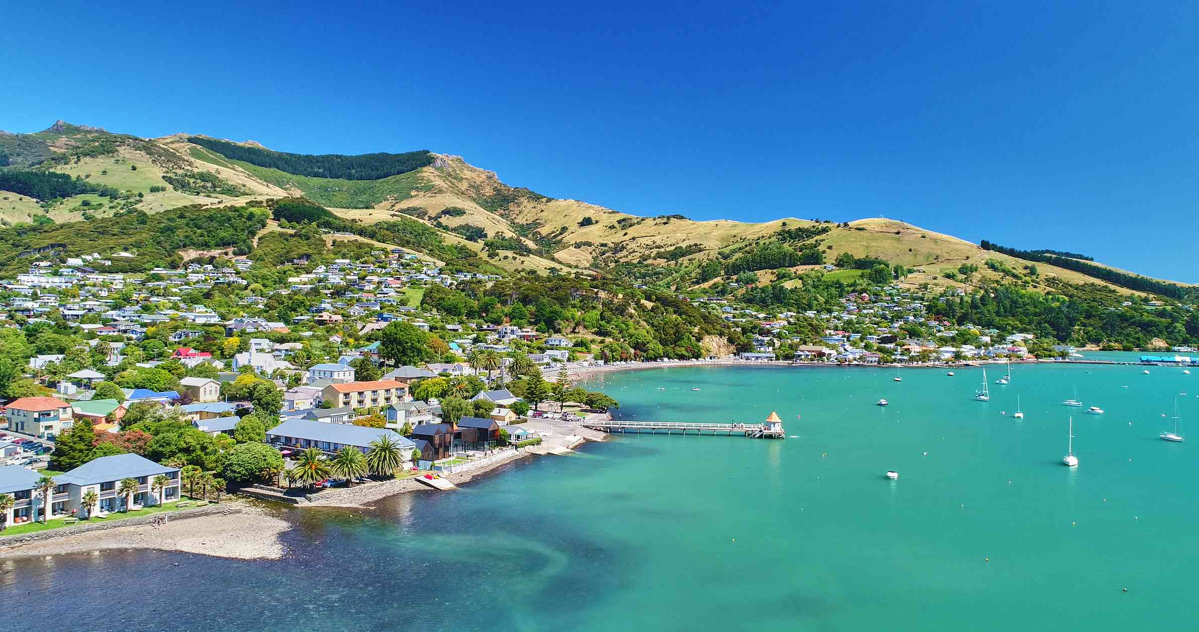 view of brigh blue water and town on the shoreline in New Zealand