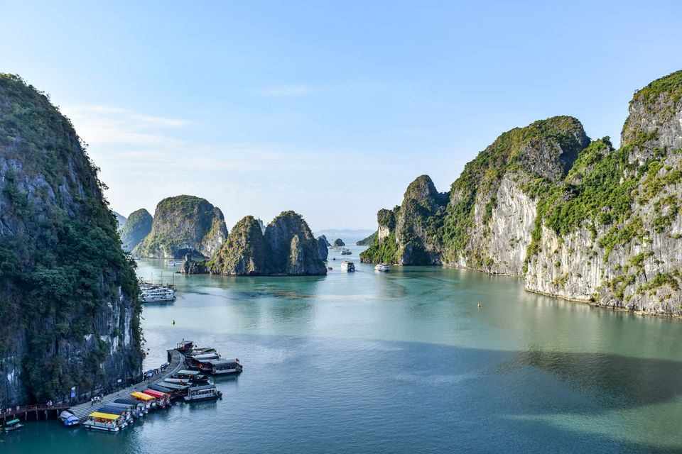Wide shot of Ha Long Bay