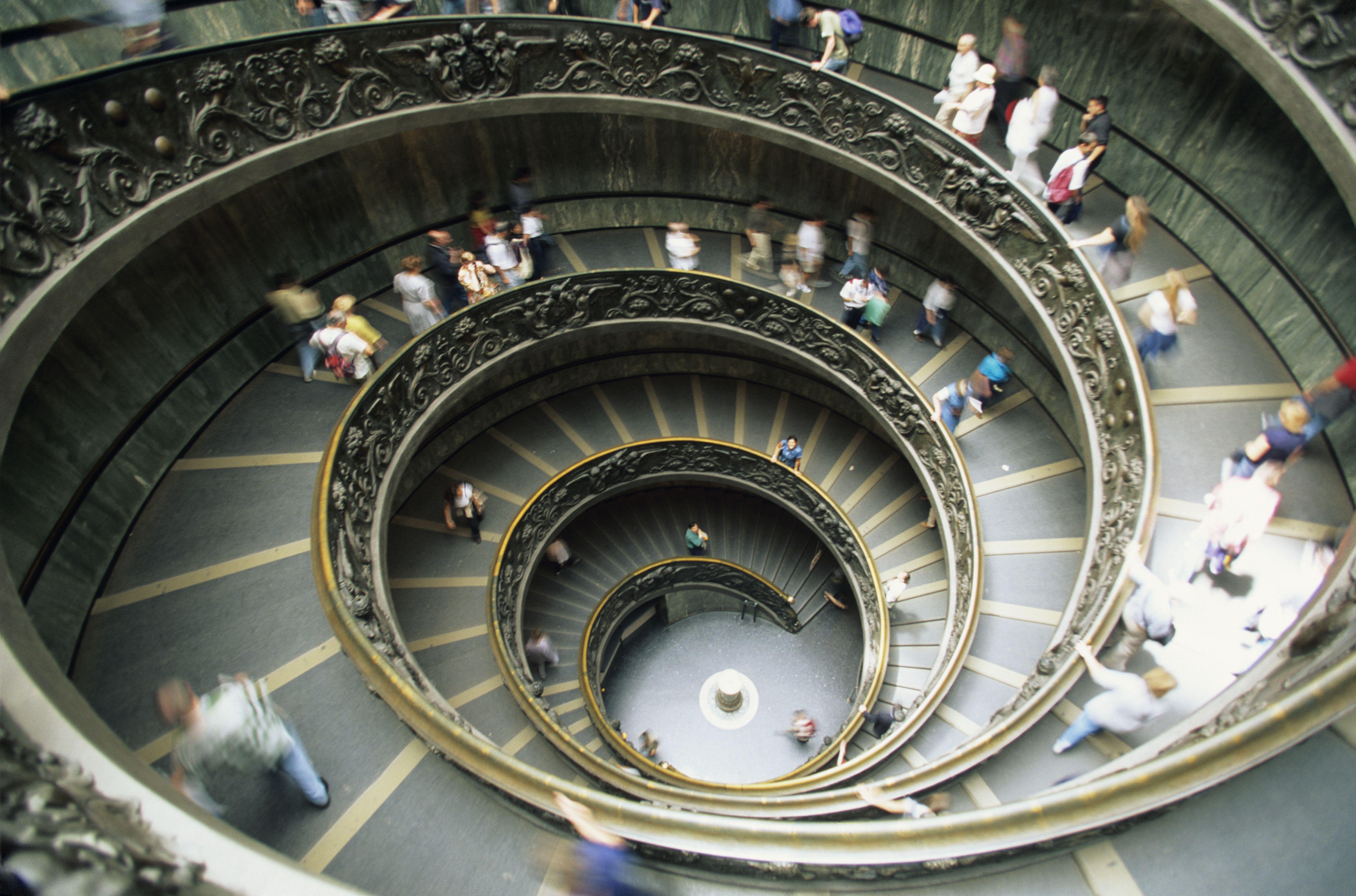 Escalera de Bramante, Museo del Vaticano, vista aérea