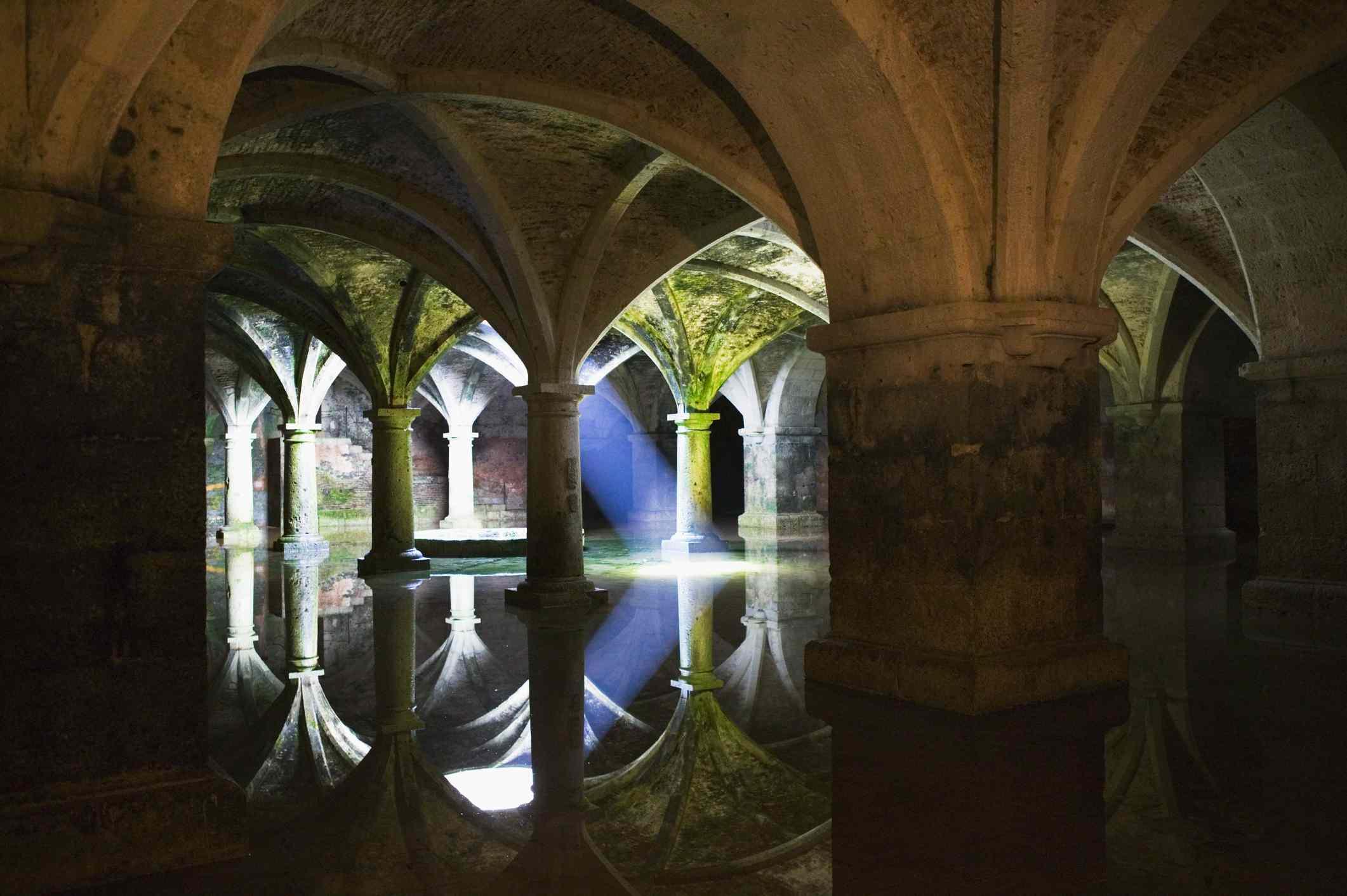 The subterranean Portuguese cistern in El Jadida, Morocco