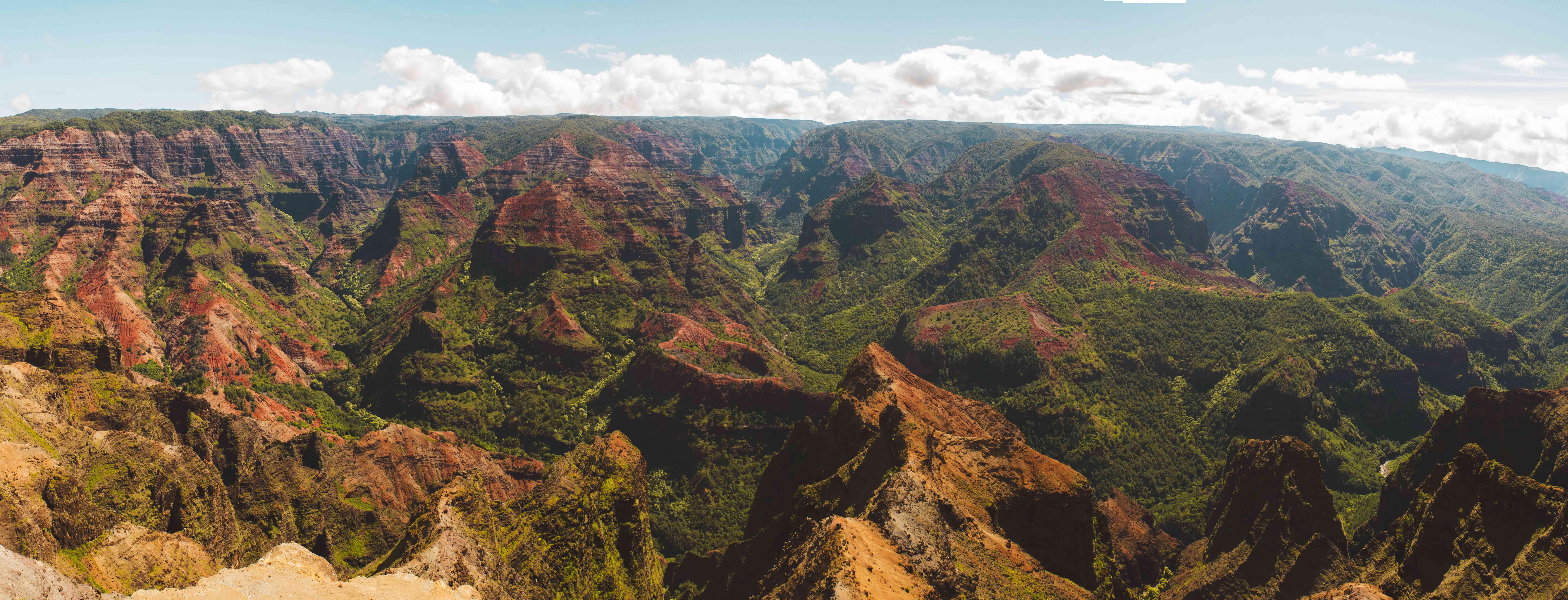 Wide view of the rocky waimea canyon
