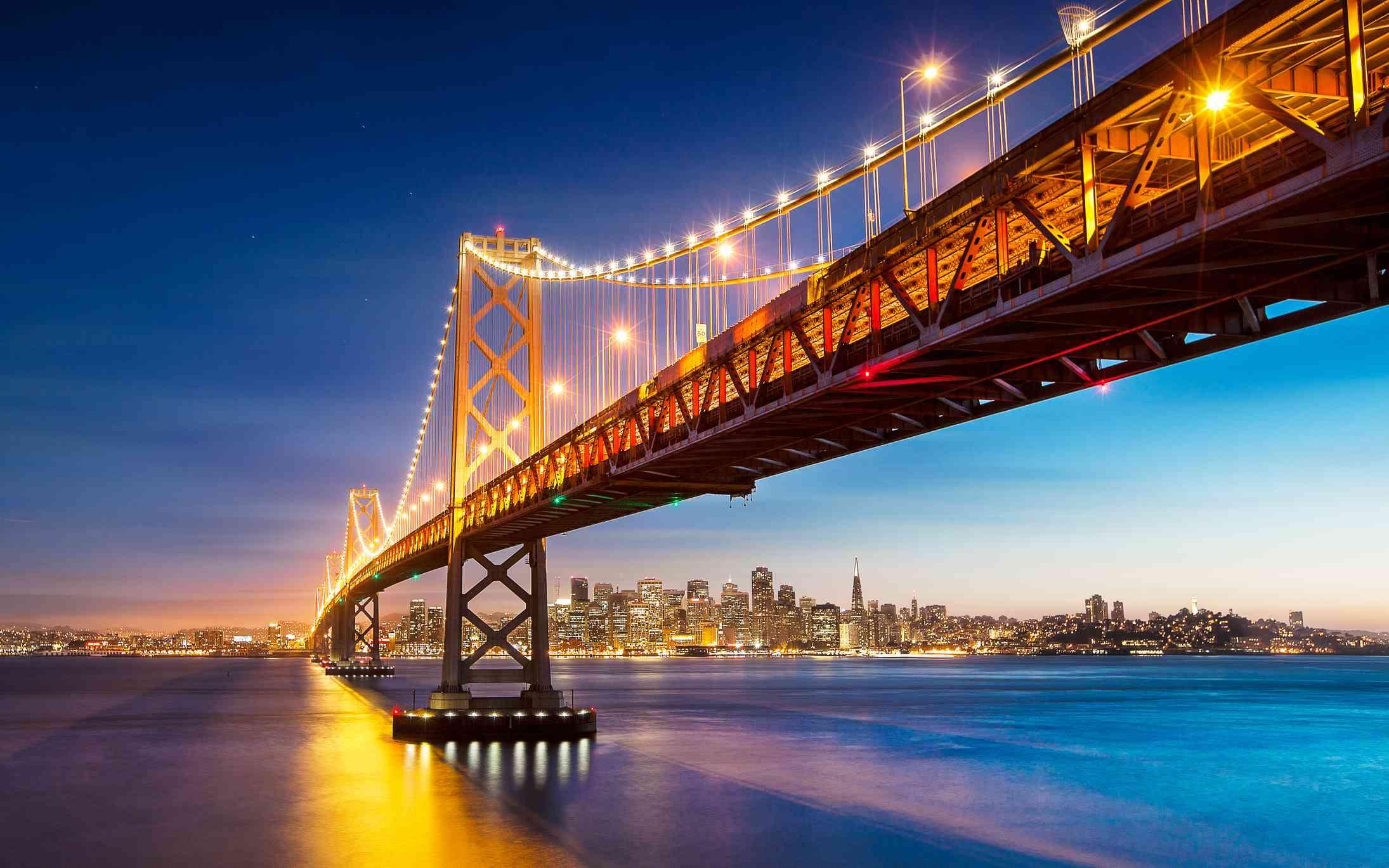 San Francisco Bay Bridge Evening