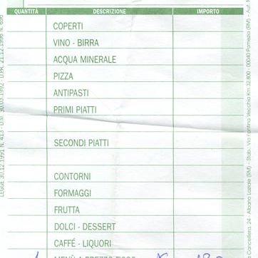 italian restaurant receipt