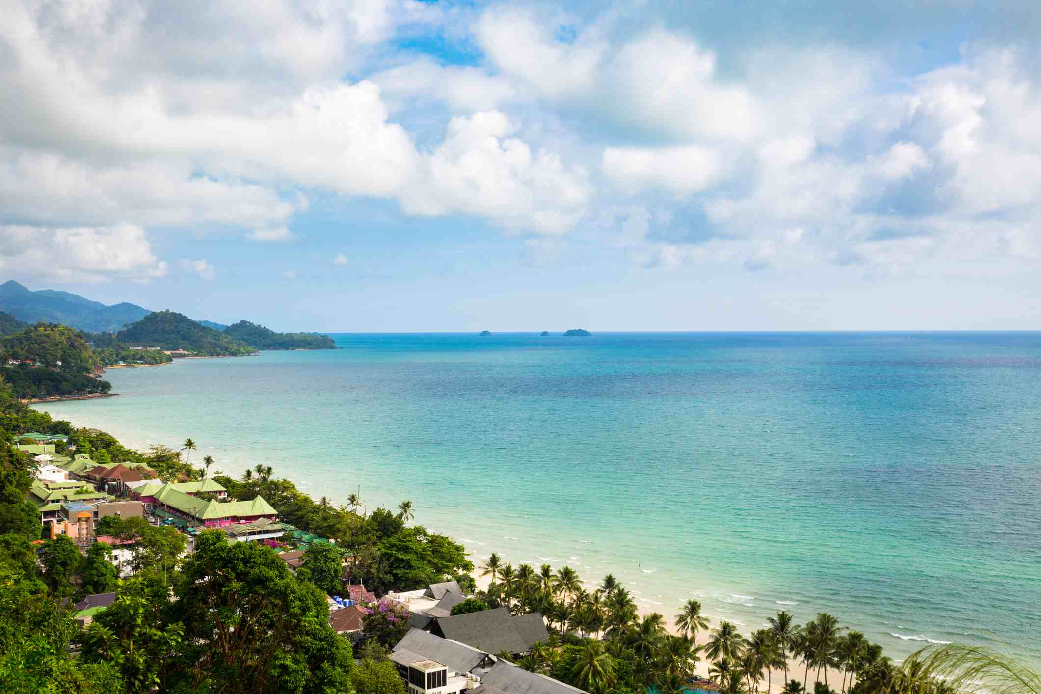 Elevated view of White Sand Beach on Koh Chang, Thailand