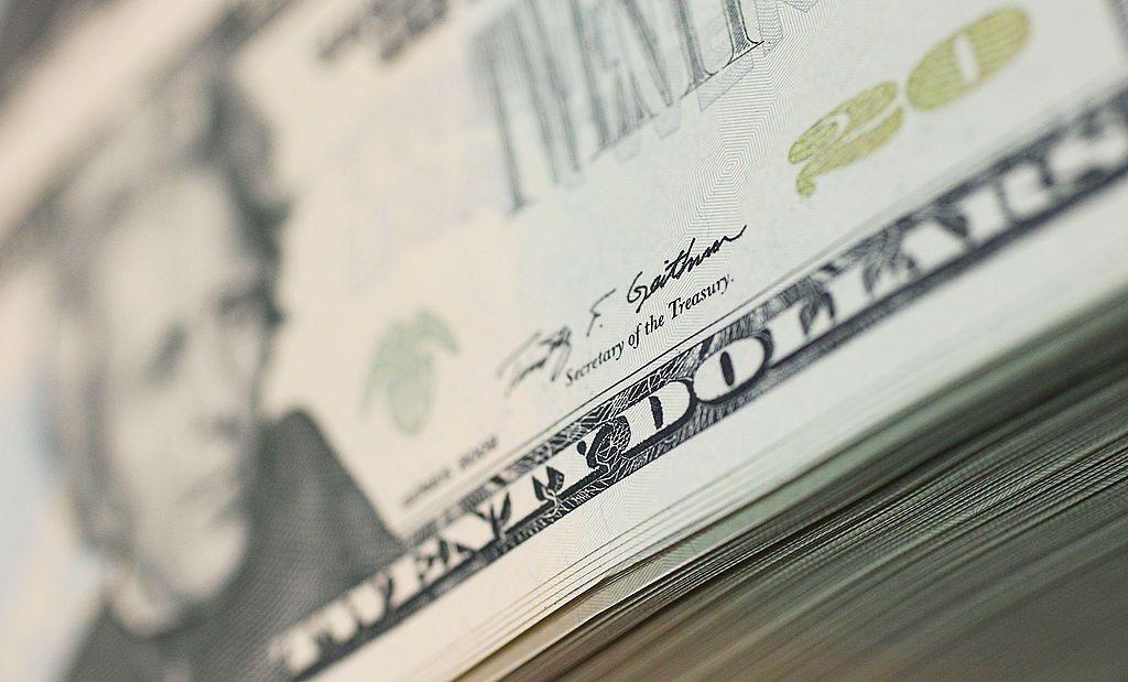 Billetes de veinte dólares son Impreso en la Oficina de Grabado e Impresión