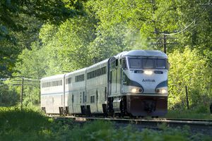 An Amtrak train travels through a wooded area
