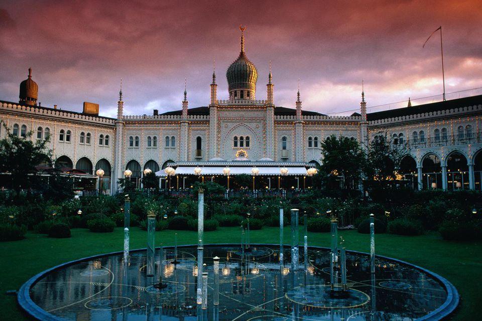 Copenhagen's famous Tivoli Gardens and Pavilion (built in 1844).