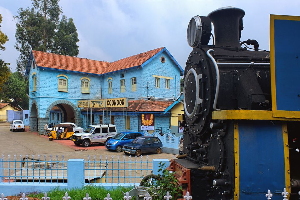 Vintage steam locomotive at Coonoor station, Tamil Nadu, India