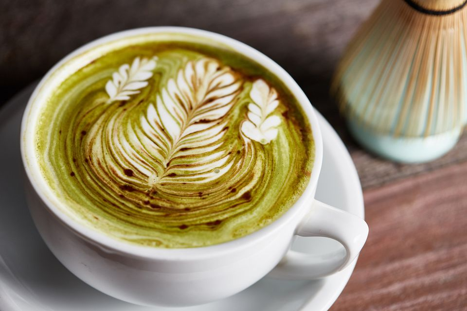 Matcha latte with floral latte art
