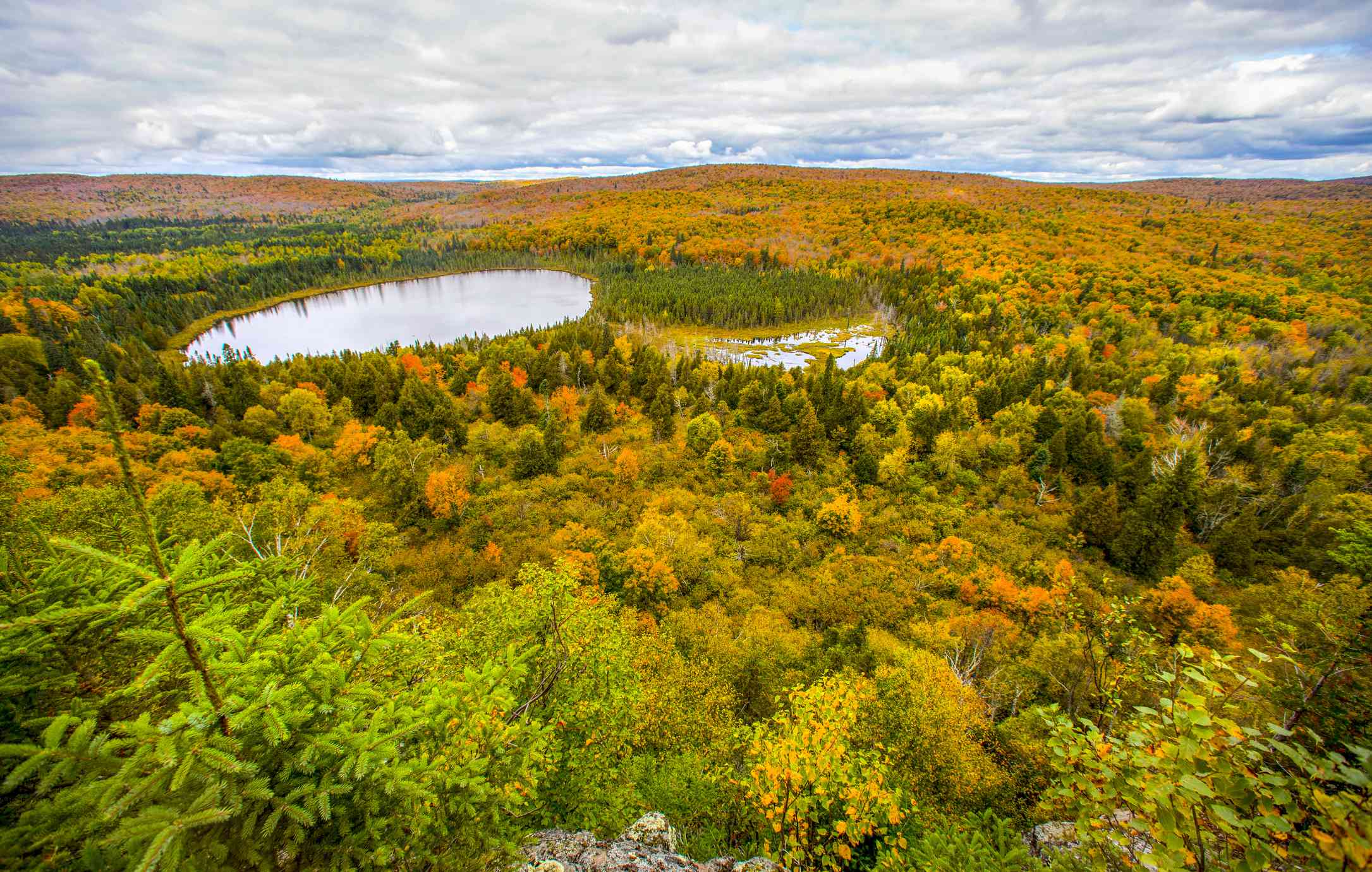 View of forest and lake near Tofte, Minnesota, USA