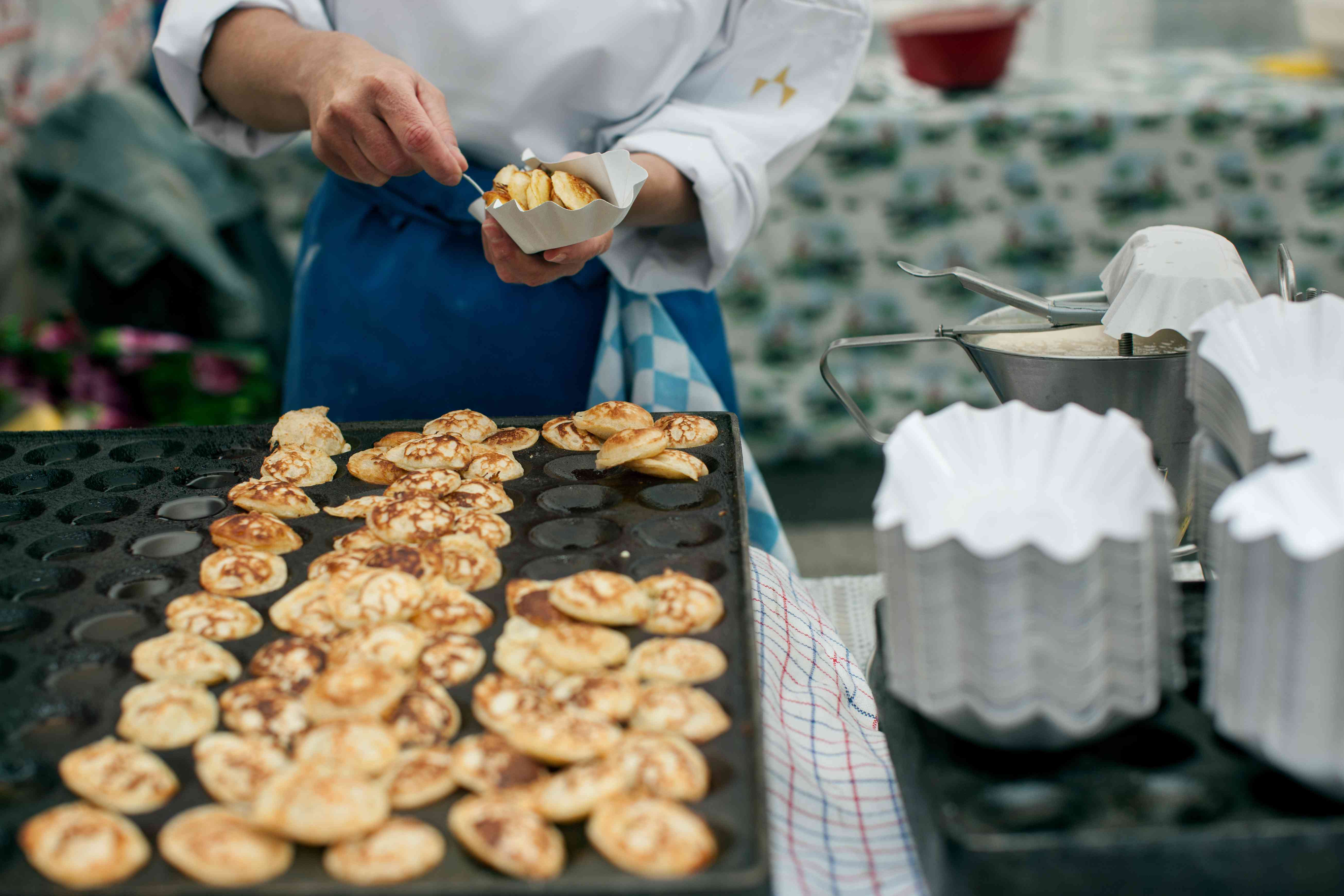 Dutch Poffertjes (Mini Pancakes) at Street Market