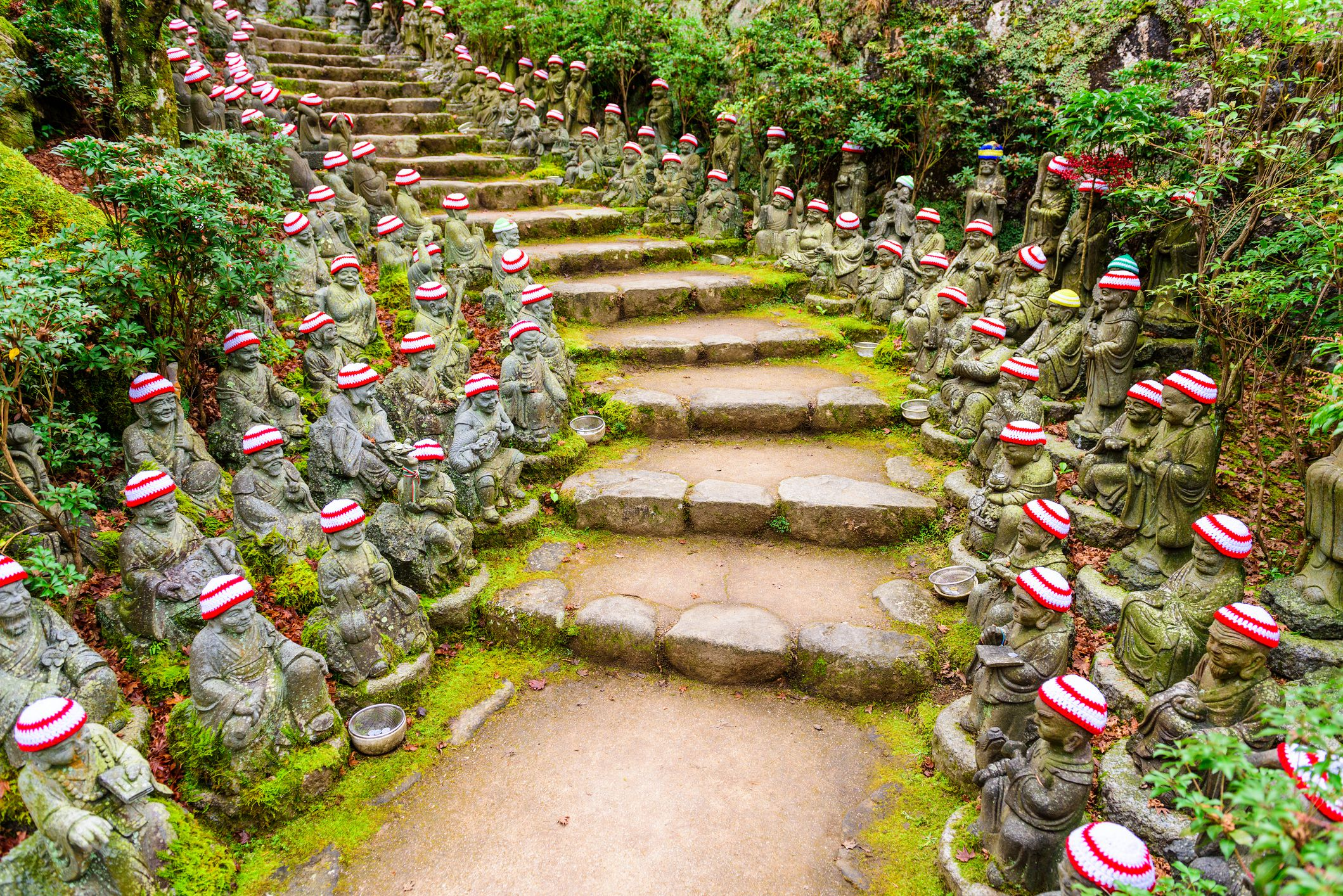 The buddha lined pathways at Daisho-in Temple grounds, Miyajima, Japan