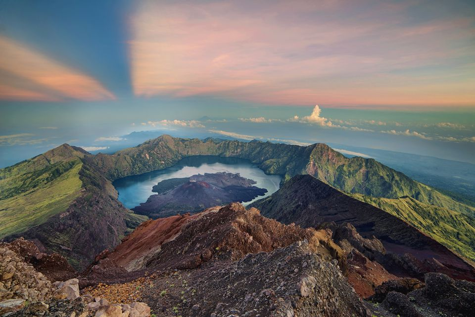 Gunung Rinjani crater during sunrise