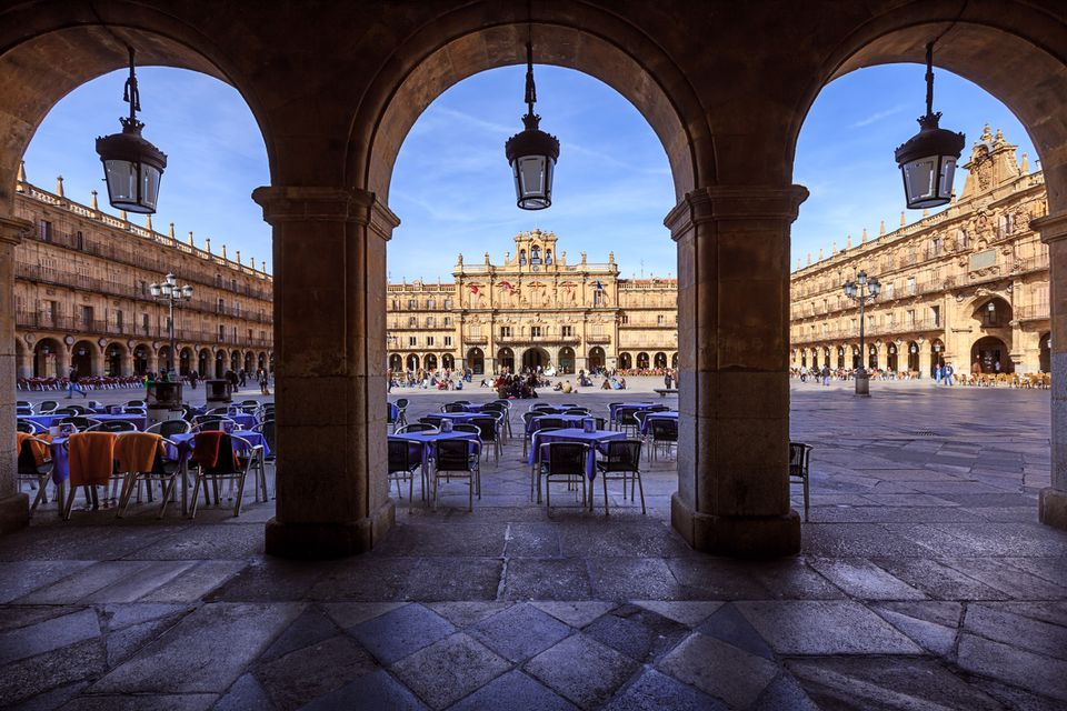Plaza Mayor, the main public square in Salamanca, Spain.