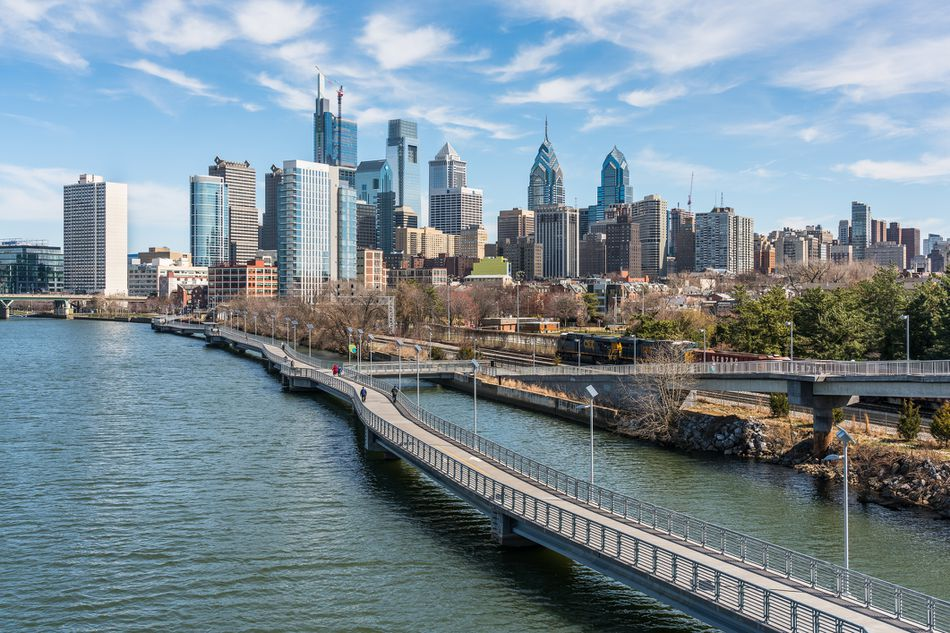 Philadelphia Skyline View From South Street Bridge