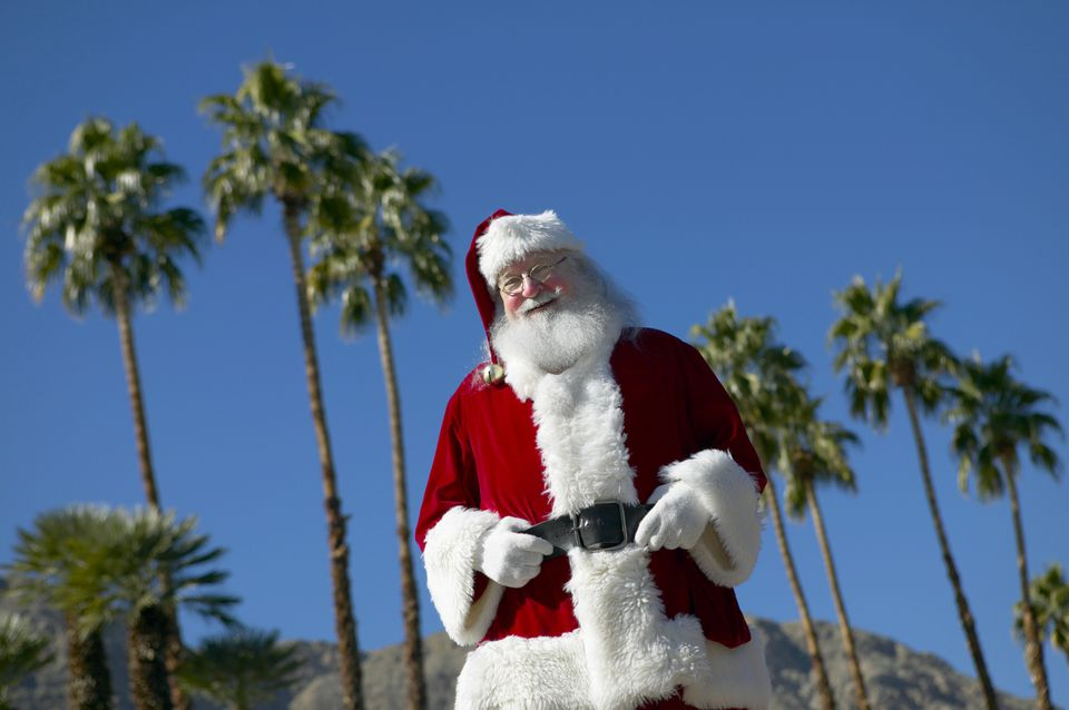 Father Christmas Standing in Front of Palm Trees