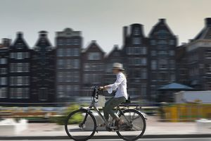 Bicyclist on an Amsterdam street in the Netherlands