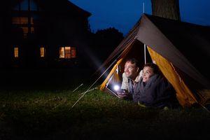 Flashlight in tent