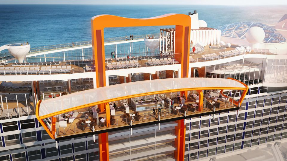 A rendering of the Celebrity Edge Cruise Ship with the Magic Carpet moveable deck extension