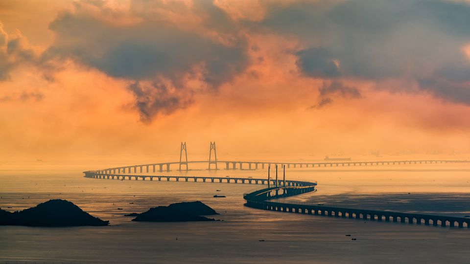 huge bridge with beautiful sunset Hong Kong-Zhuhai-Macau Bridge