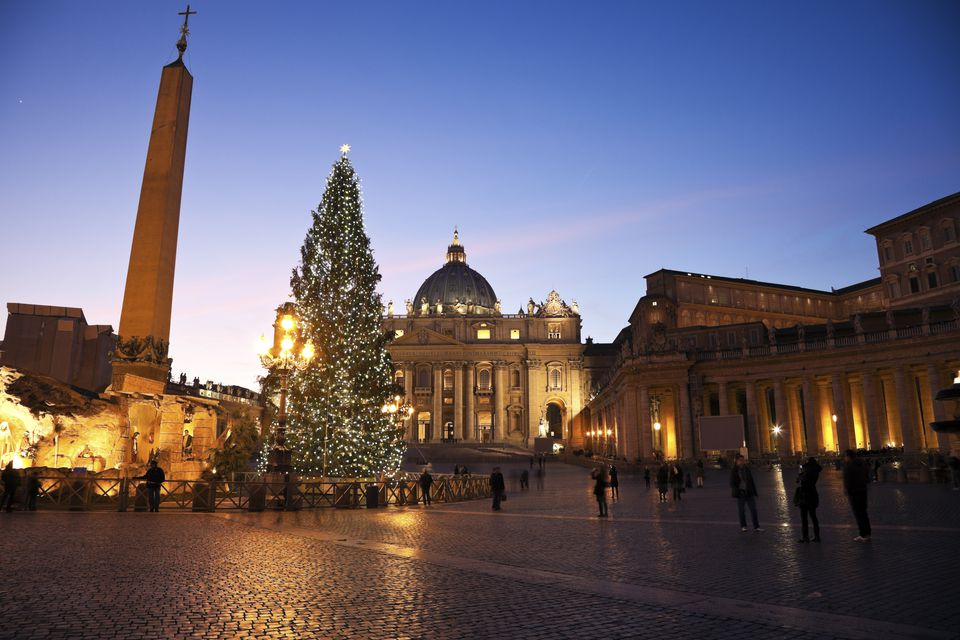 Saint Peter's Square and Saint Peter's Basilica during Christmas time