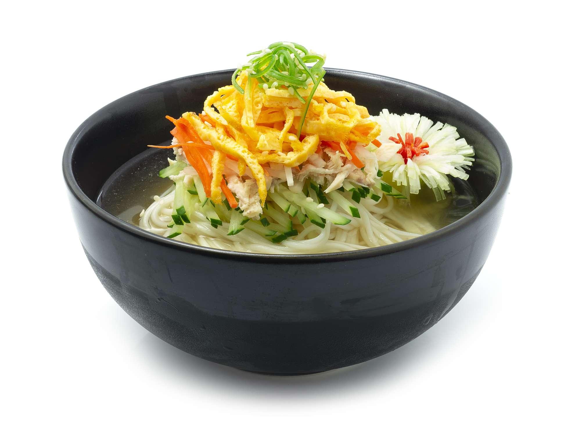 Korean Cold Noodles Soup Naengmyeon Traditional Korean Food Popular Summer dish