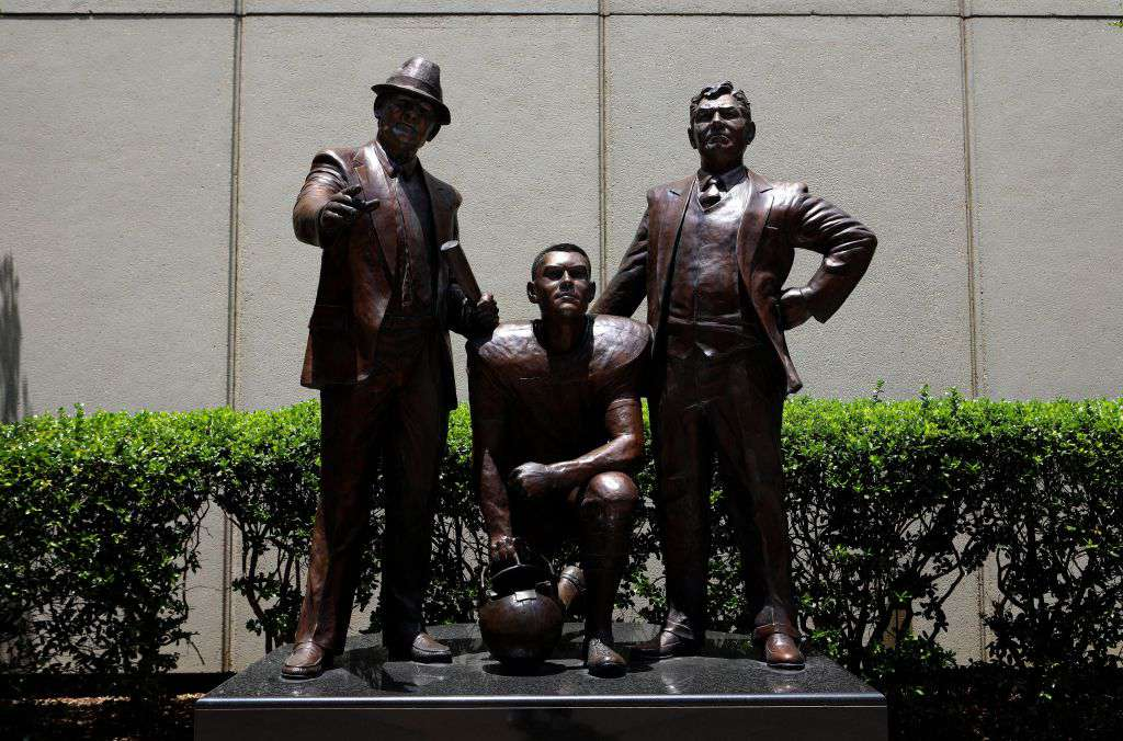 Partners with Bear and Shug, statue outside Alabama Sports Hall of Fame Museum