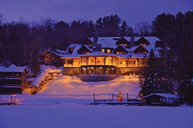 Lake Placid Lodge covered in snow