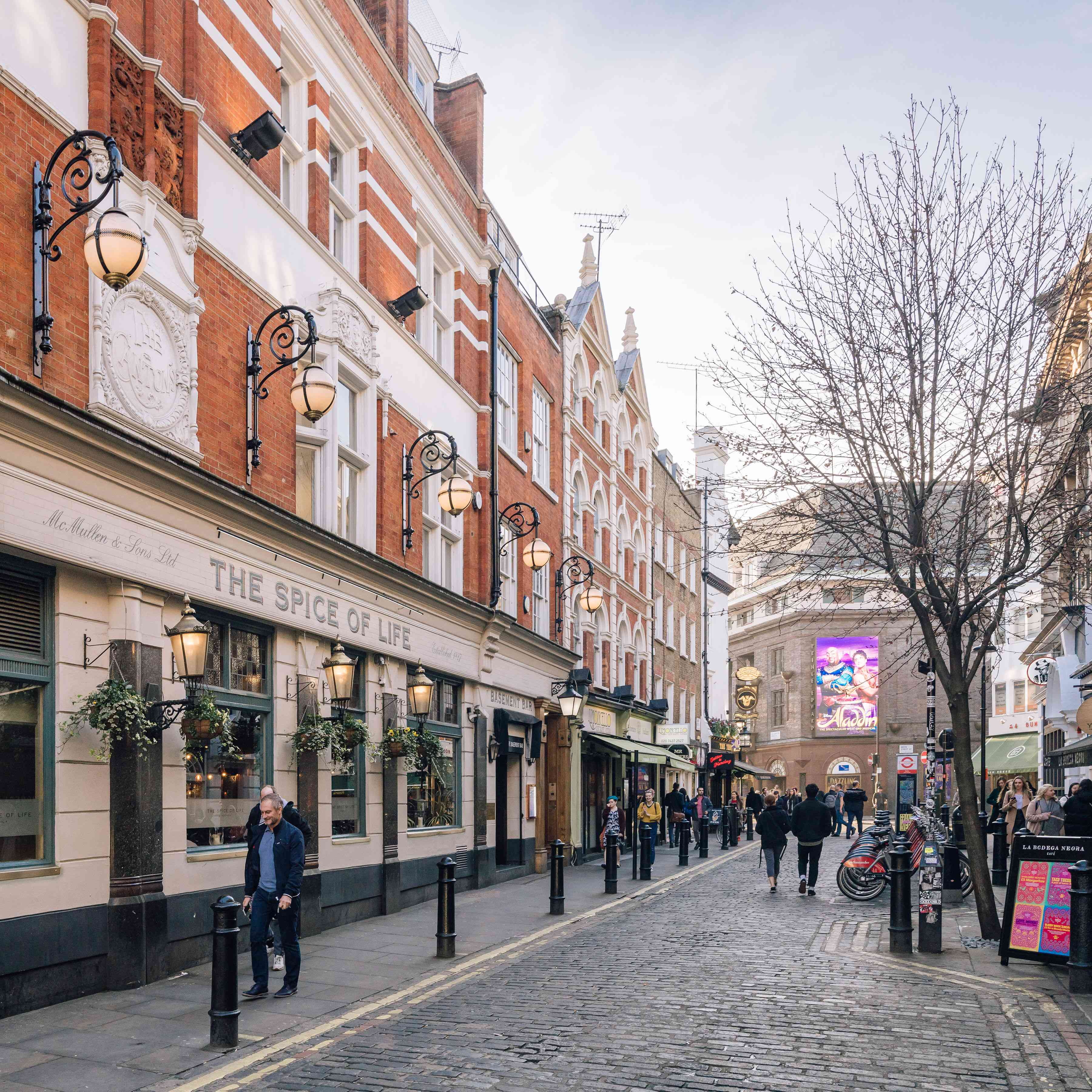 A cobble street in the West End of London