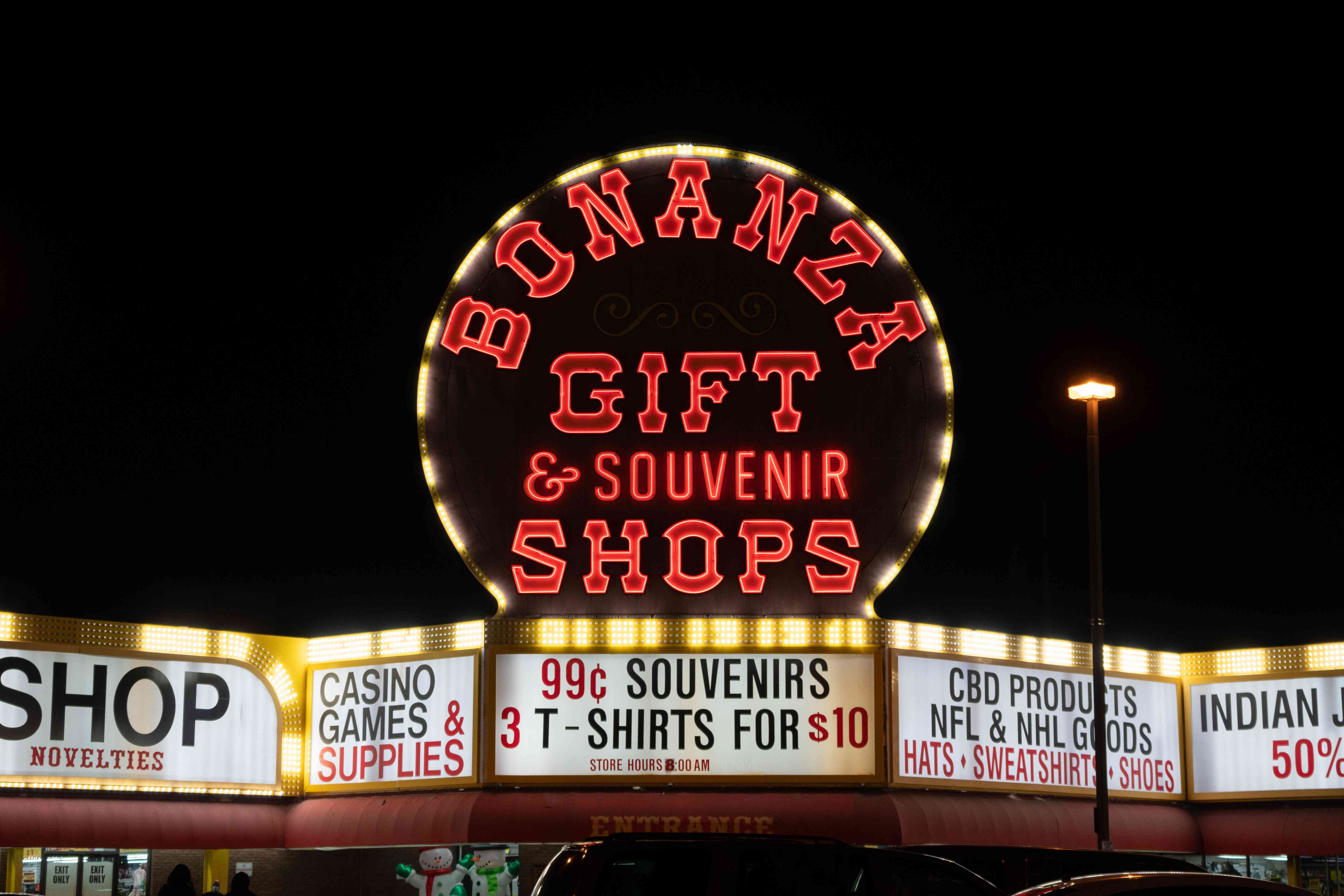 Neon sign for the Bonanza Gift Shop