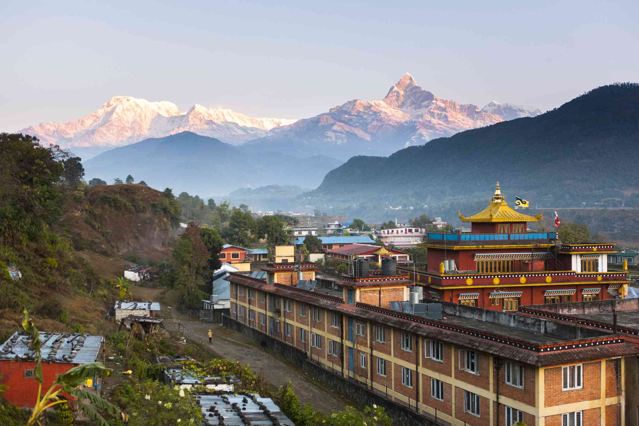 Tashi Palkhiel refugee camp monastery near Pokhara, Nepa