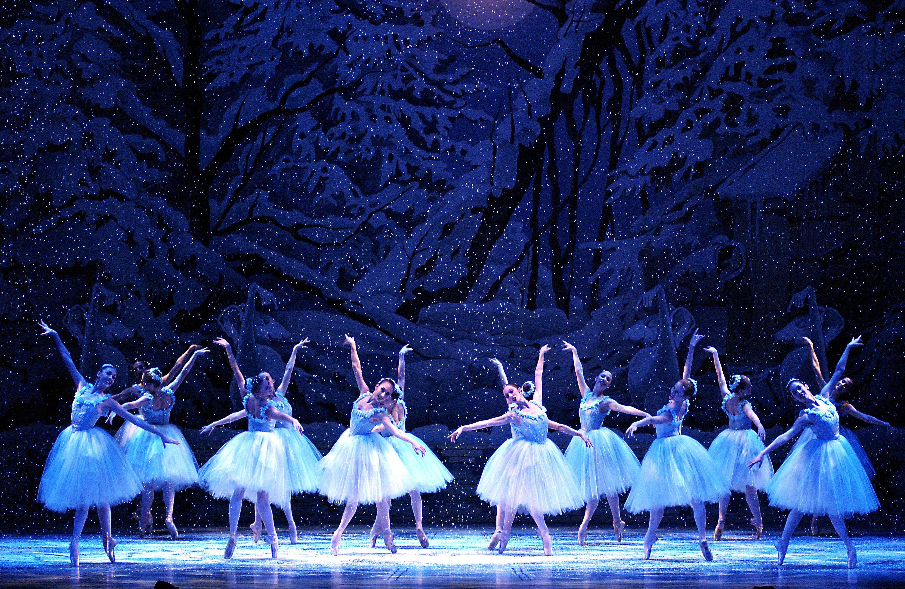 The snow scene from Pacific Northwest Ballet's Stowell/Sendak Nutcracker.