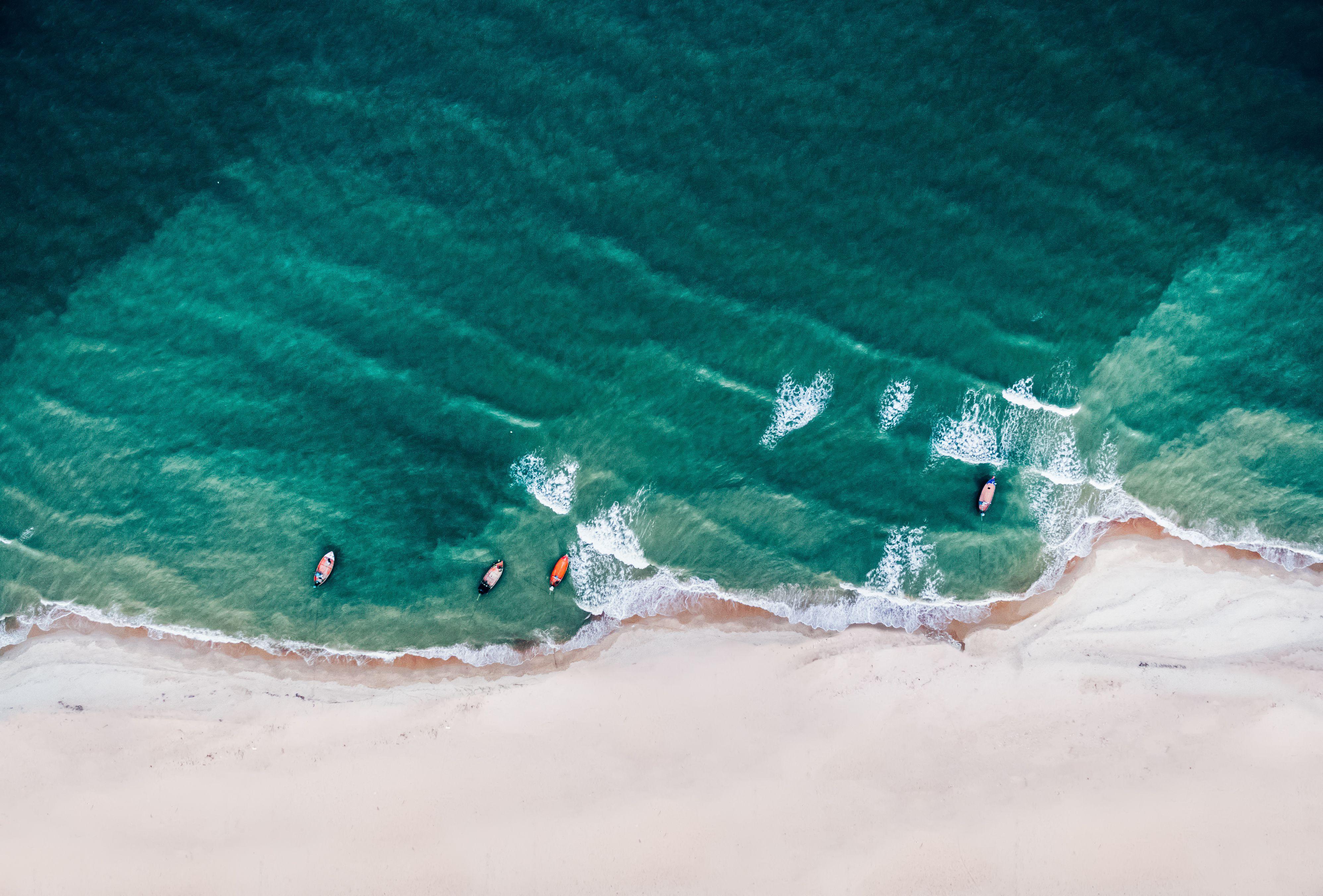 aerial view of Cha-am beach in Thailand