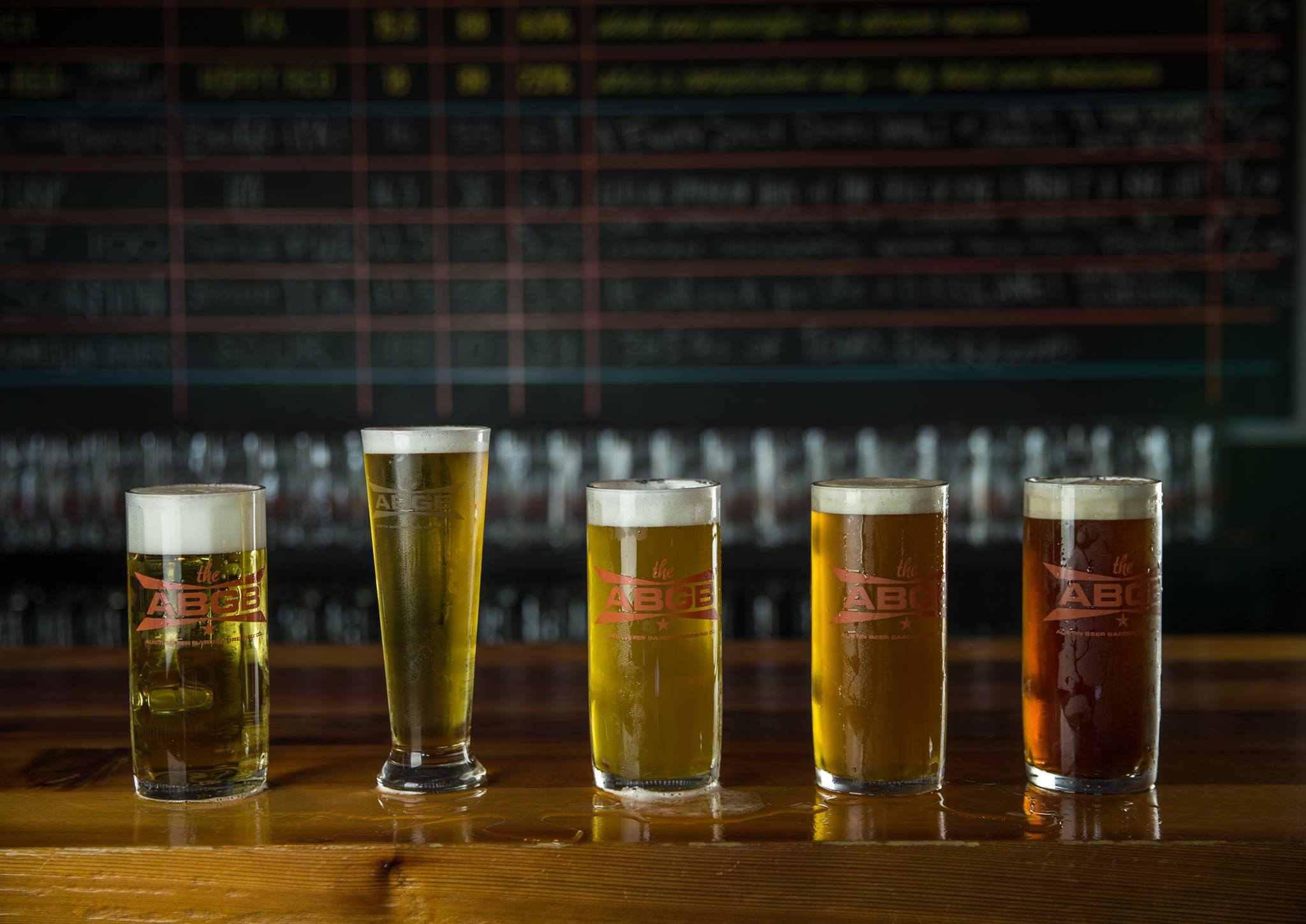 five beers at Austin Beer Garden Brewing Company