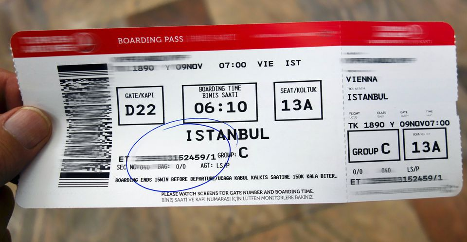 Passenger Airline Boarding Pass To Istanbul, Turkey