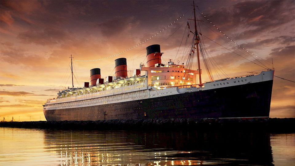 The Queen Mary at sunset
