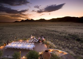 Romantic candle lit dinner in the middle of the desert at the Sossusvlei Desert Lodge