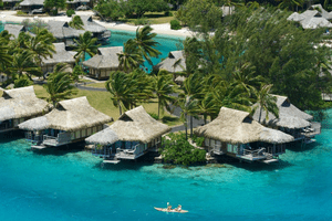 Overwater bungalows and turquoise seas