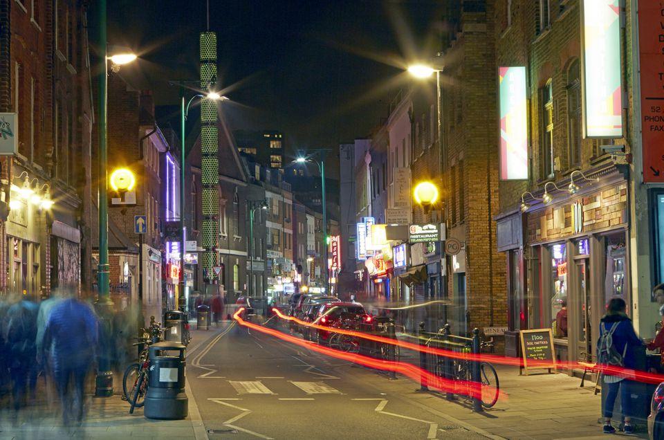 Light trails of fashionable Brick Lane at night