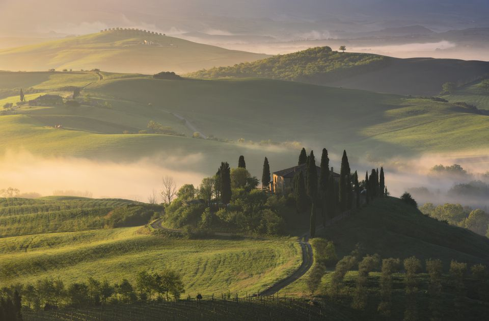 The rolling hills of Tuscany, Italy.