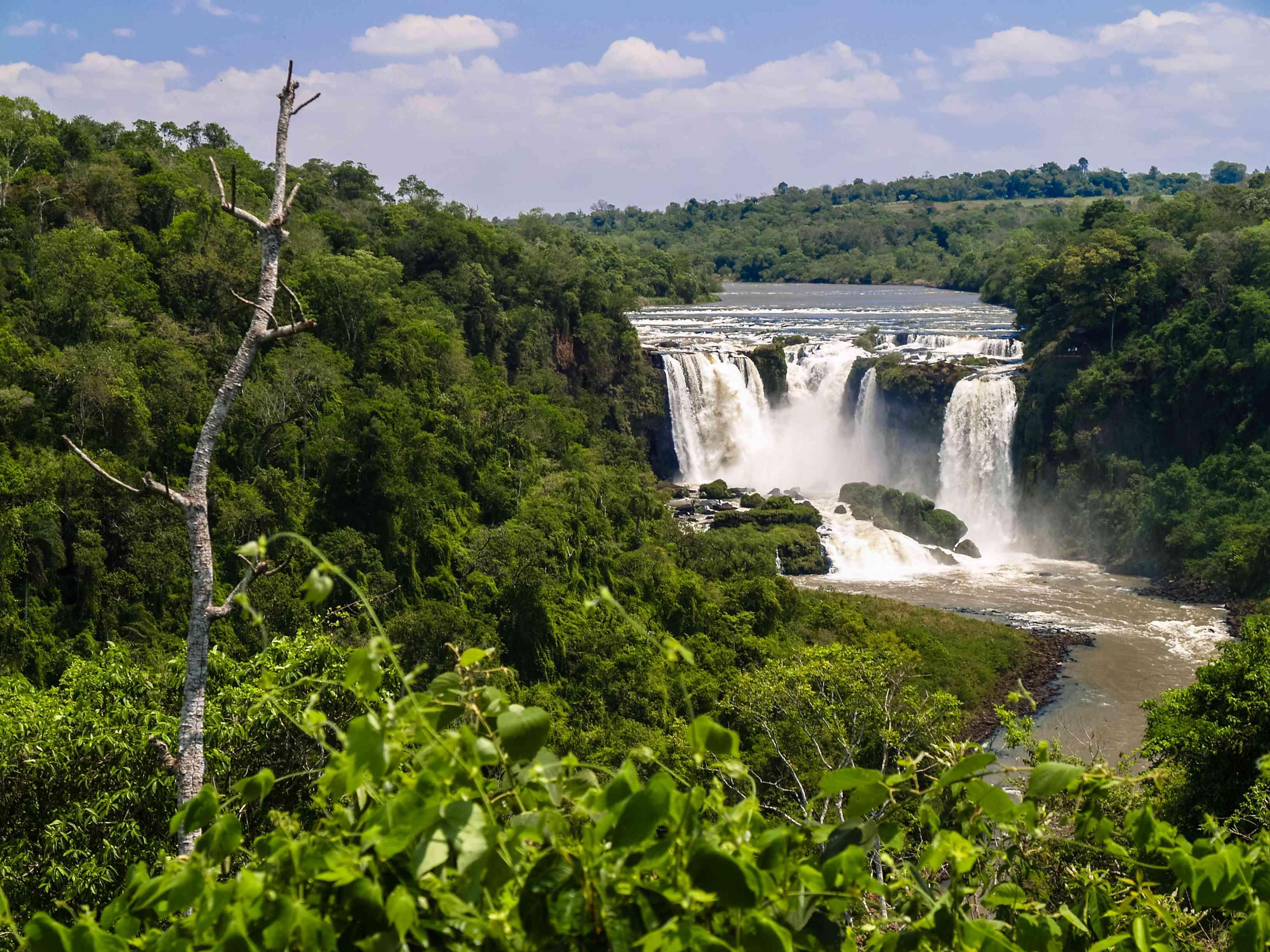 Waterfall in municipal park Monday, Alto Parana, Paraguay, South