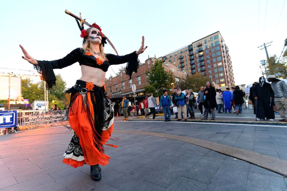 Woman wearing a costume at the Costume Contest & Party
