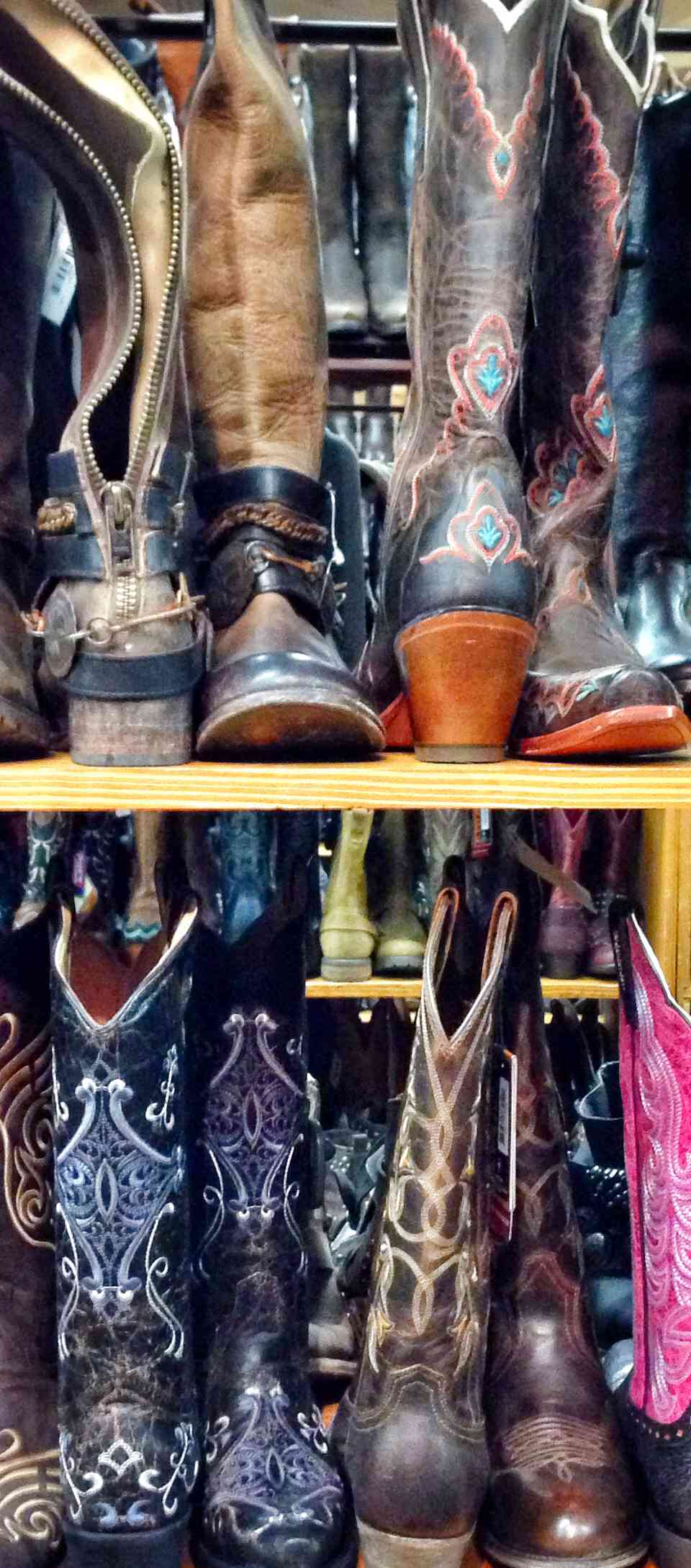 Rows of cowboy boots on shelves in Allen's Boots, Austin, Texas.