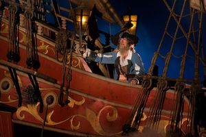 Barttle scene in the Pirates of the Caribbean ride.