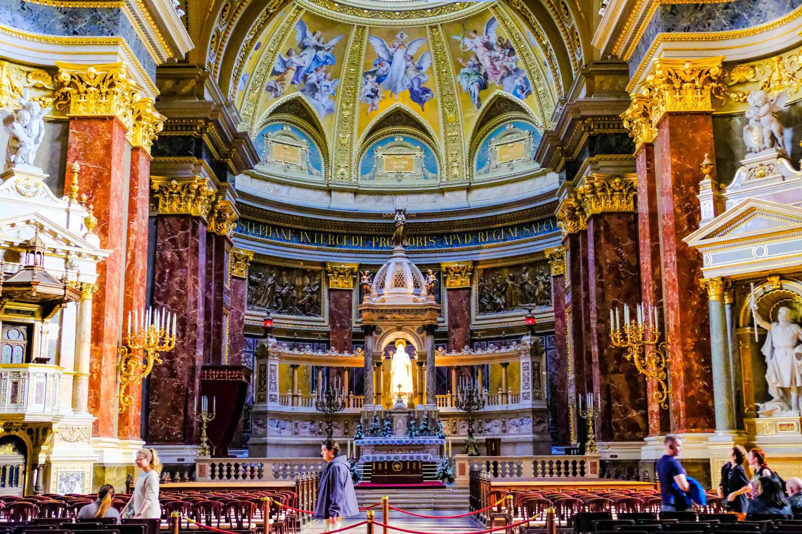 Intricate art work inside St Stephen's Basilica
